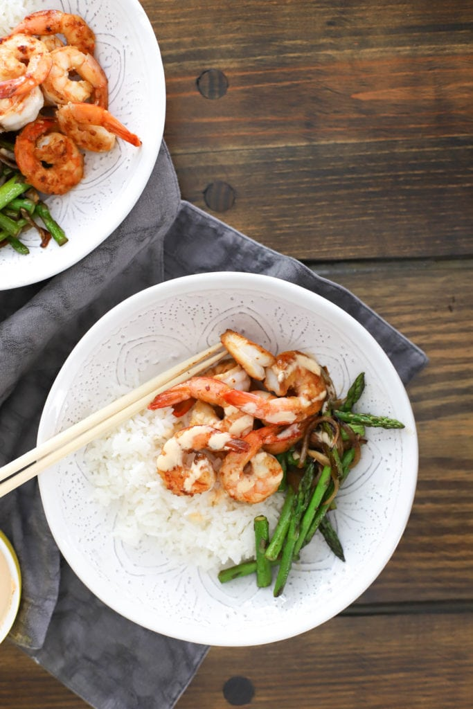 bowl of hibachi shrimp with vegetables and white rice
