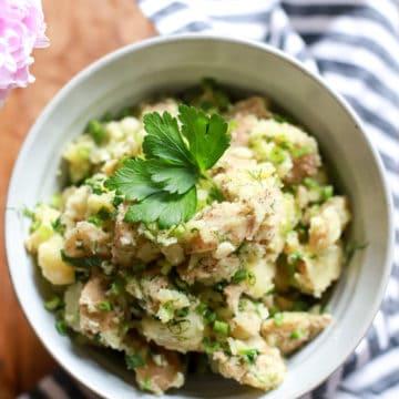 bowl of vegan potato salad