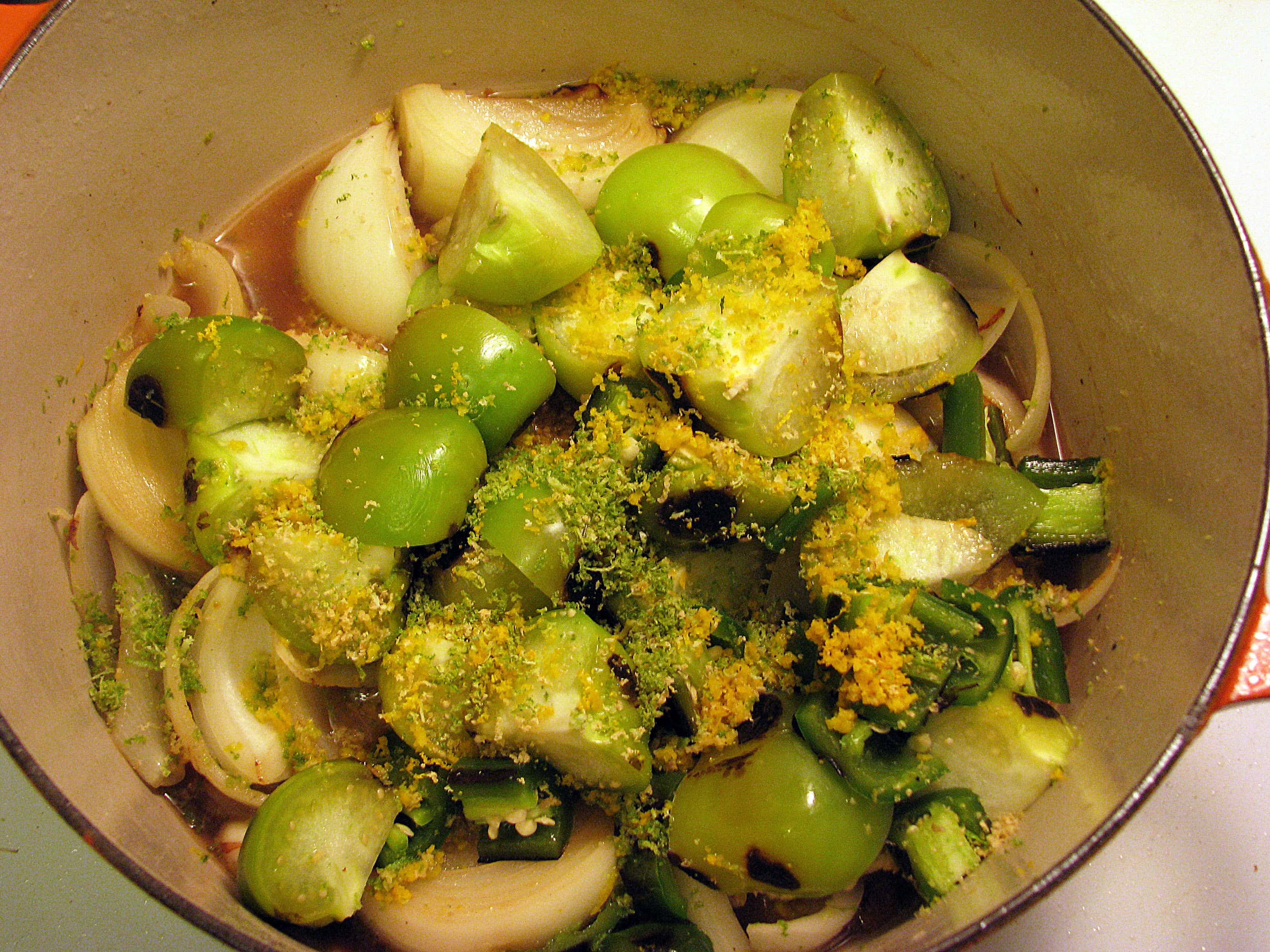 Add charred veggies and zest to pot