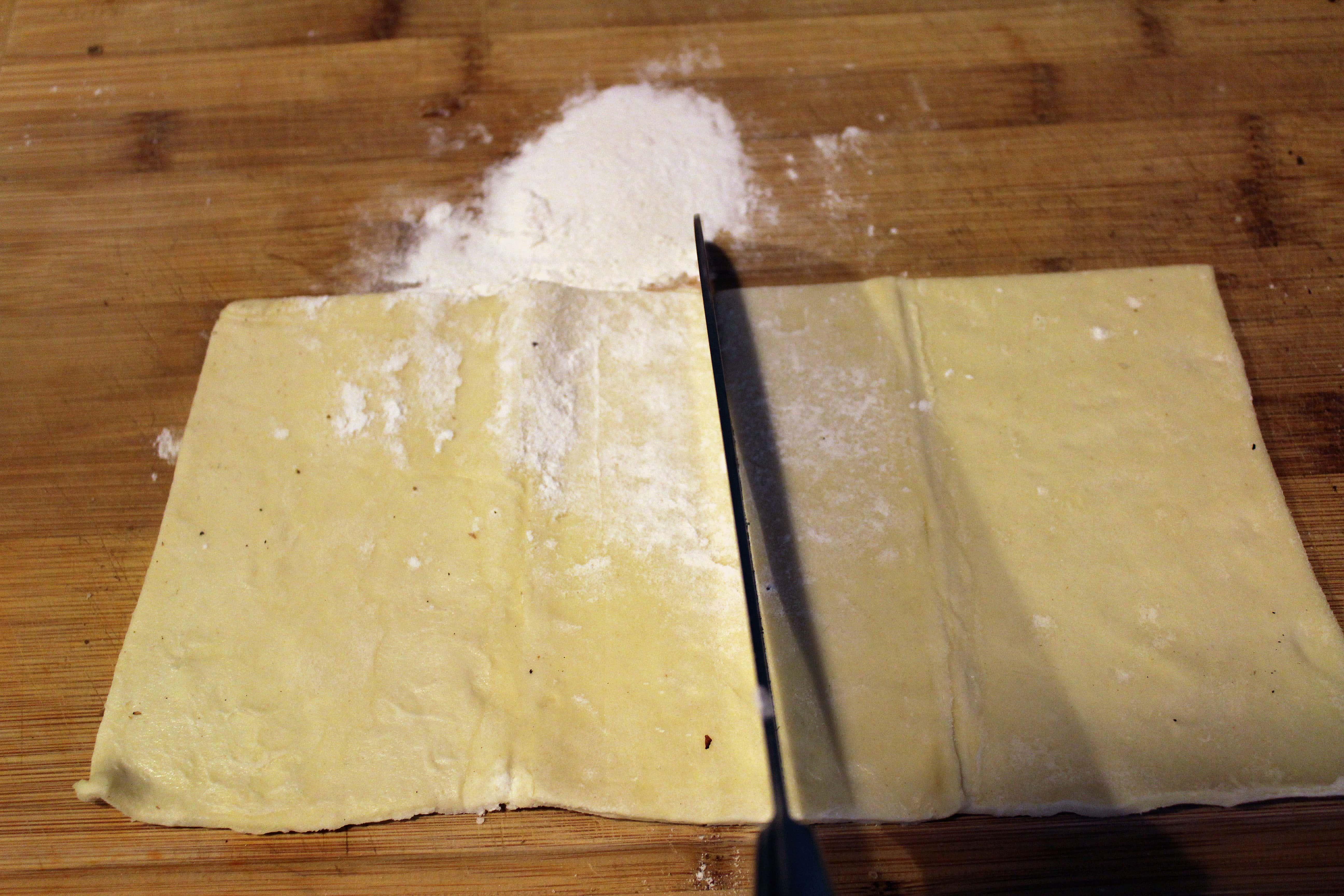 Cut dough in half again