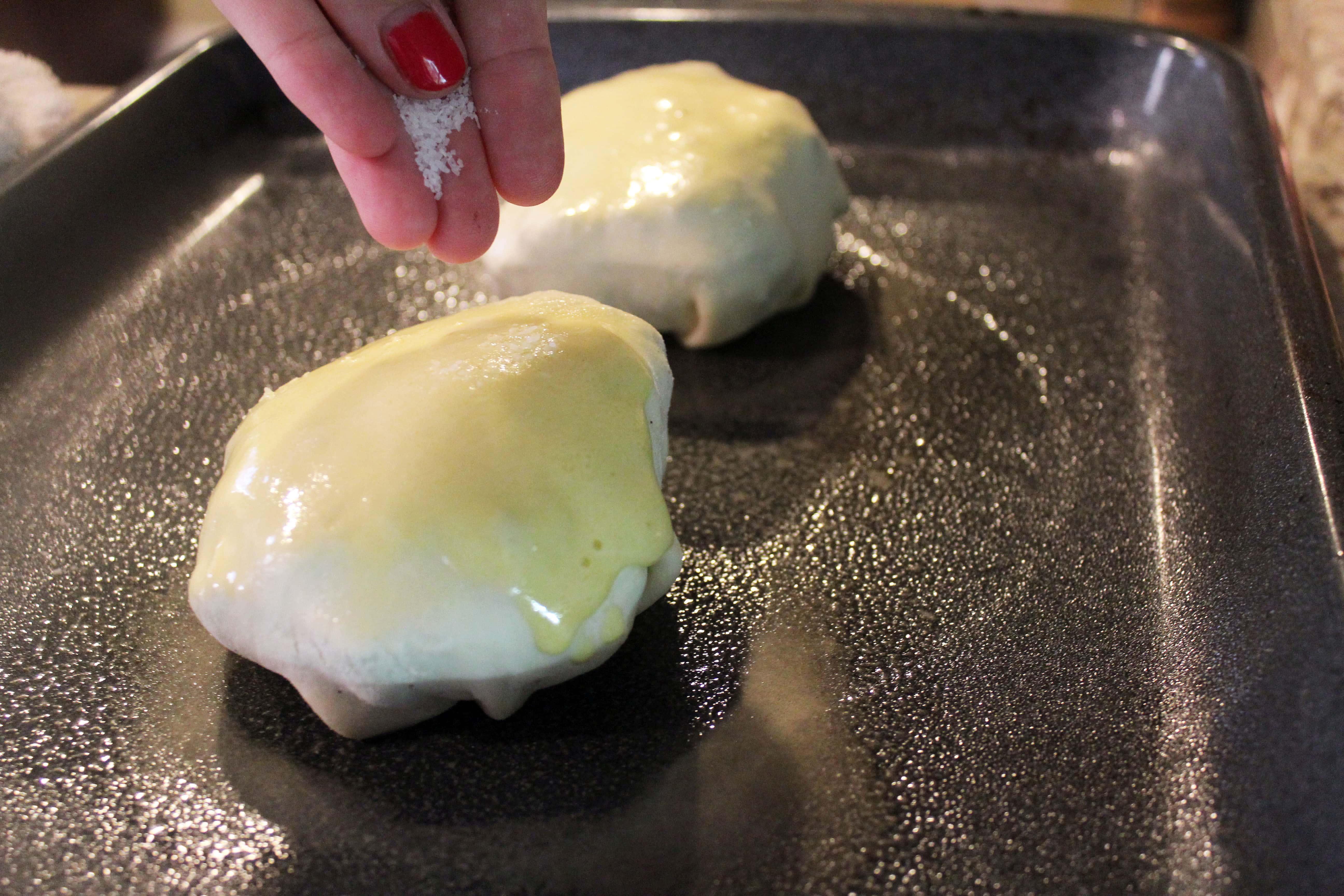 Sprinkle on salt before baking