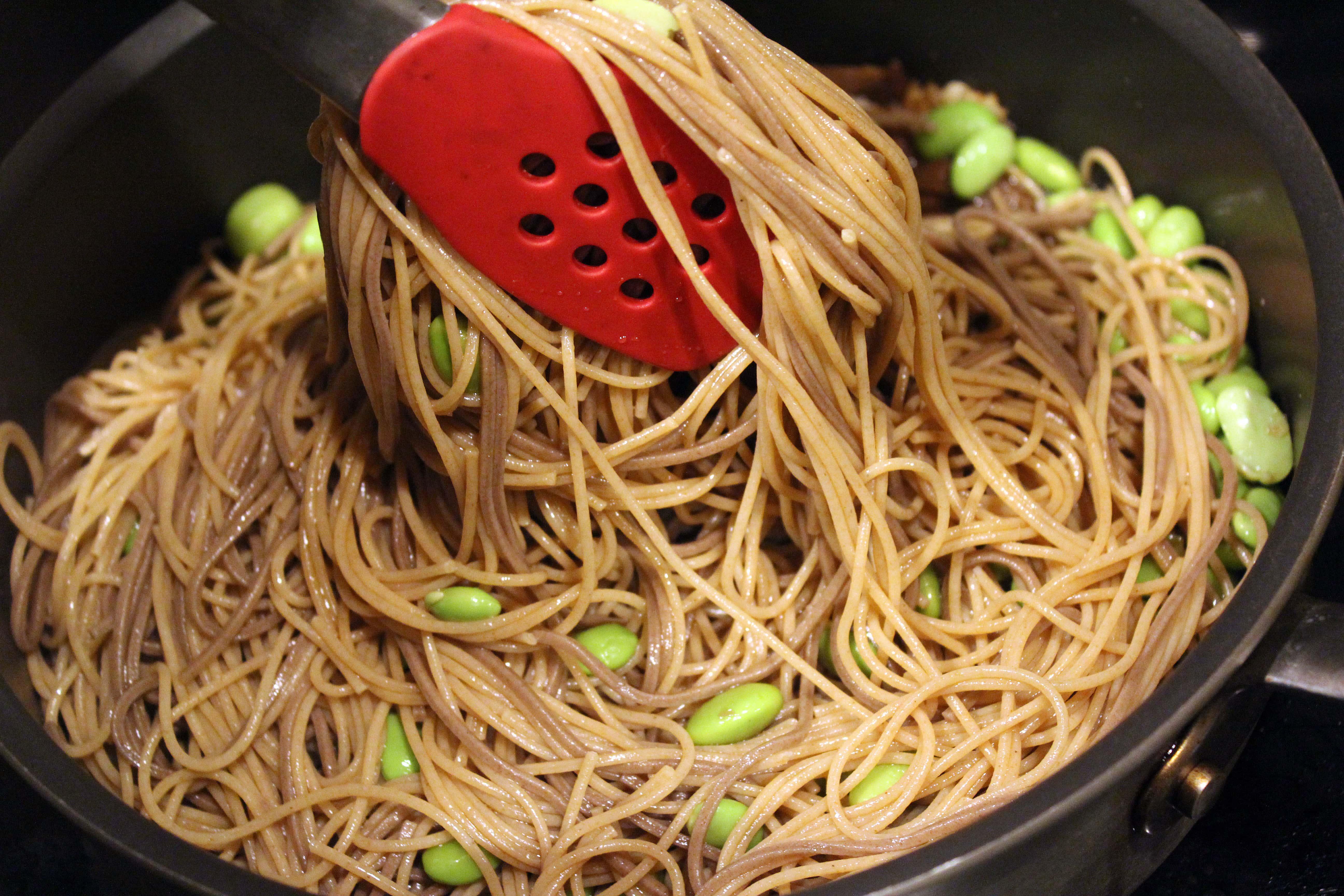 Toss pasta with sauce