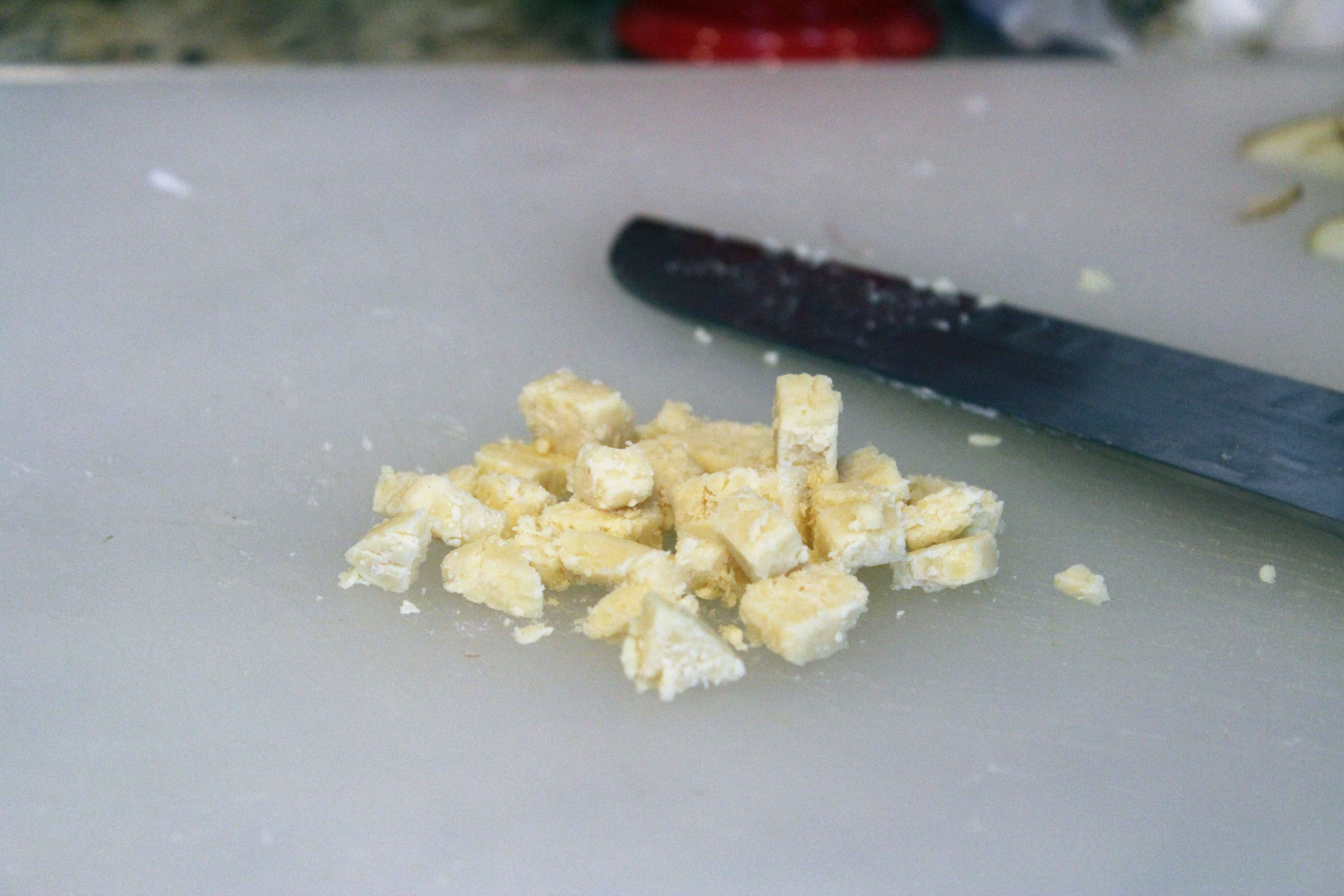 Cube cheese for sauce