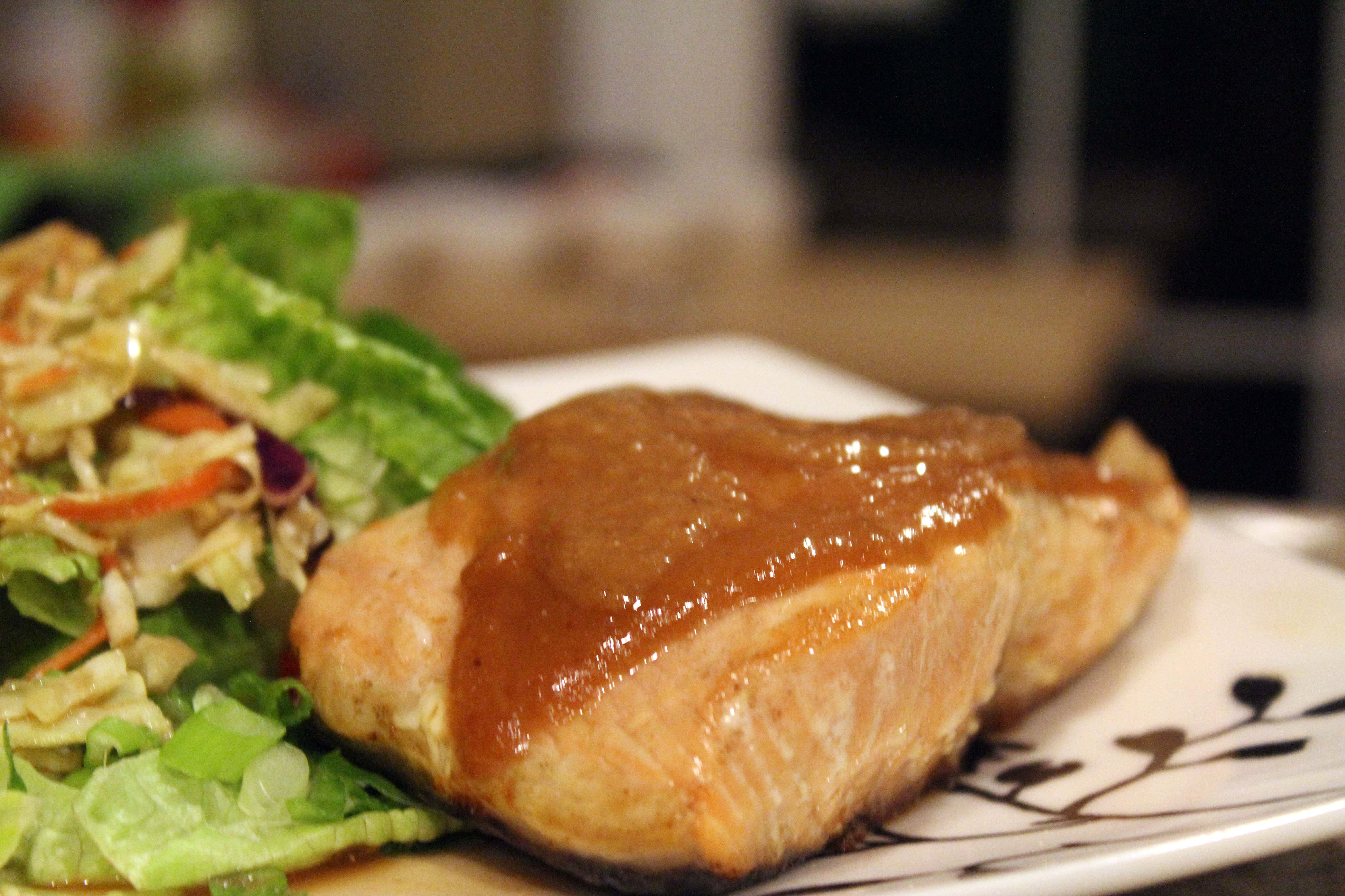 Serve salmon with salad