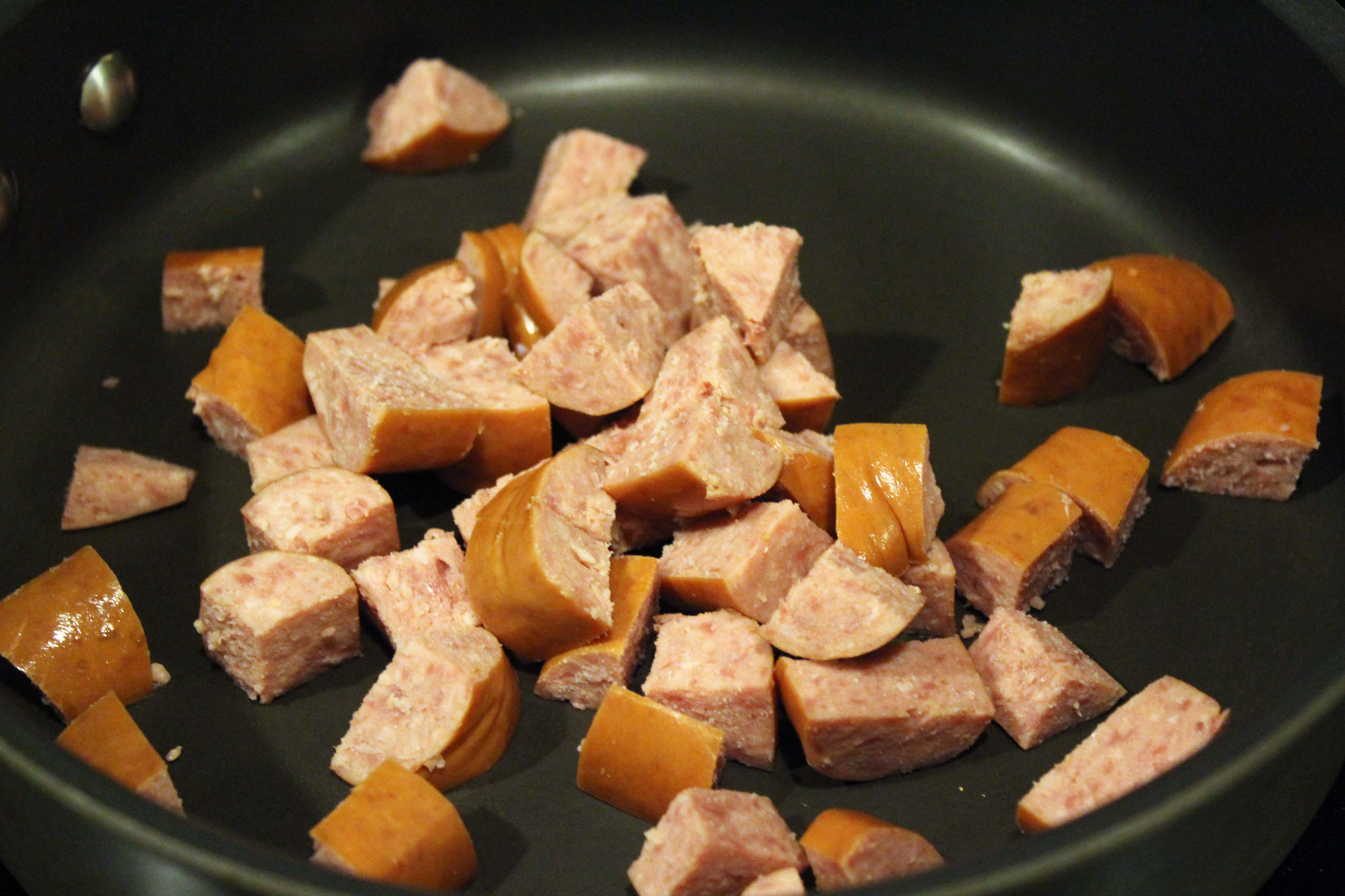 Start kielbasa in cold pan