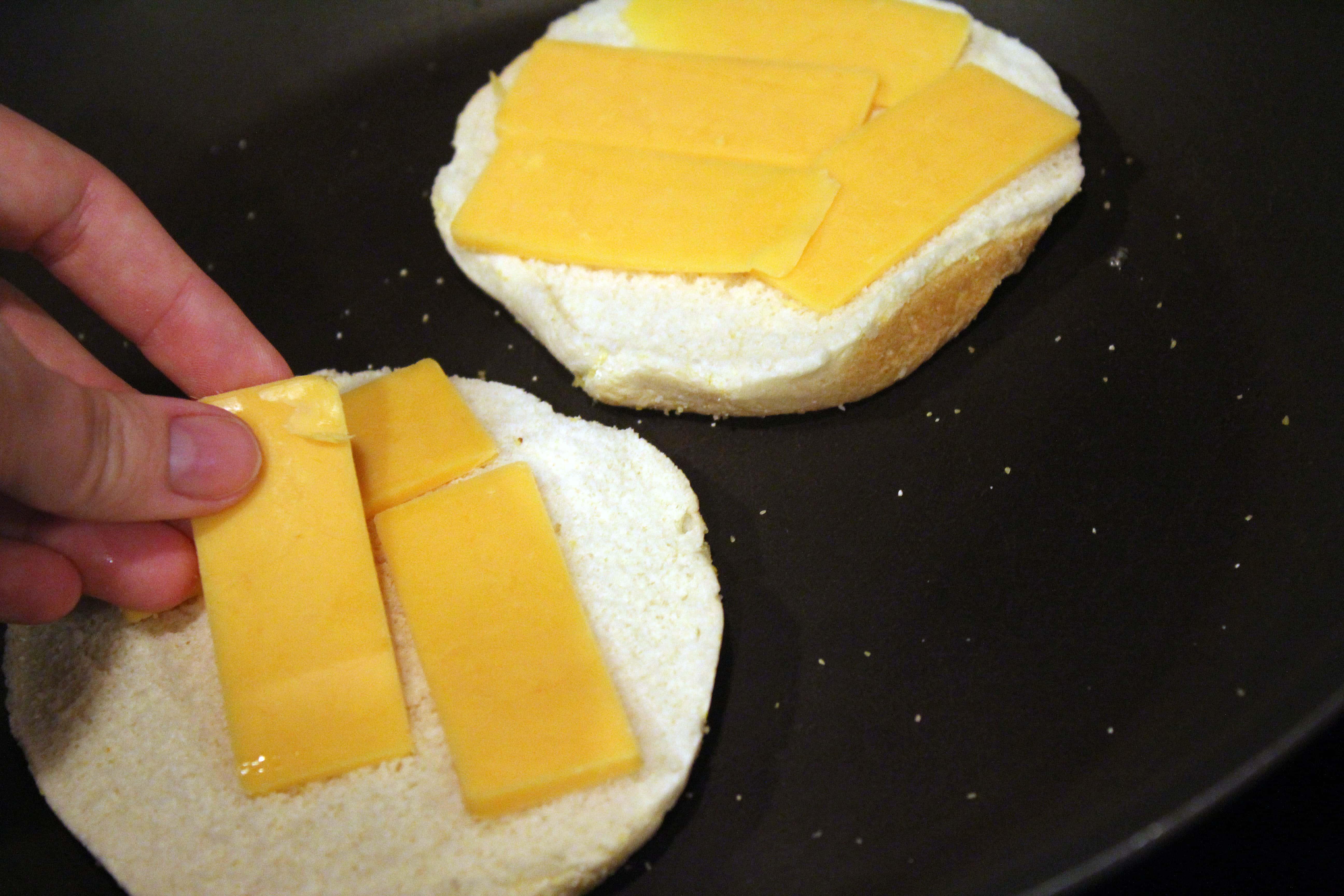 Start melting bottom layer of cheese