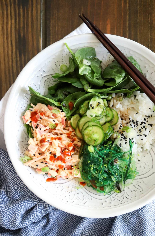 crab salad sushi bowl