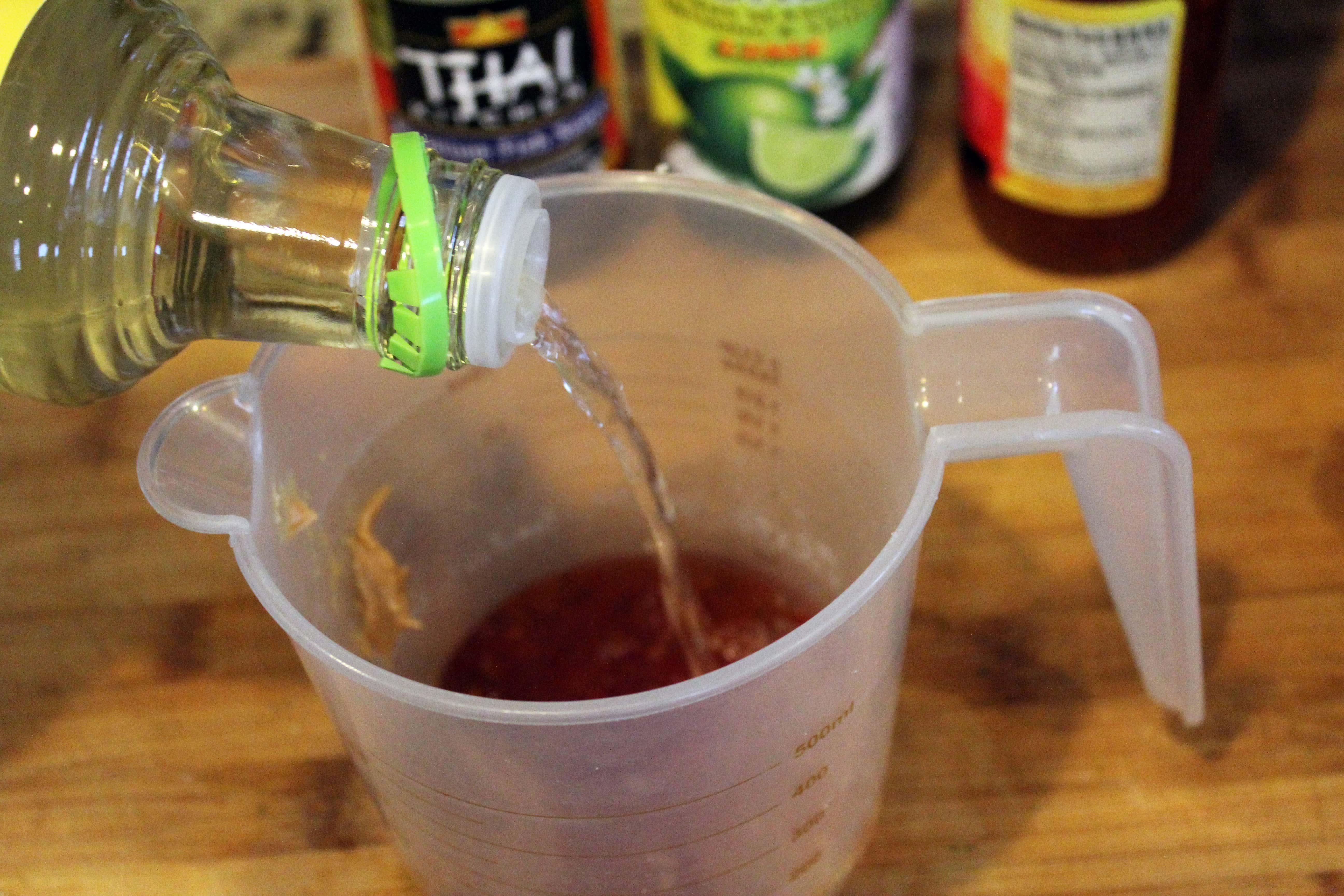 Add rice vinegar to hard ingredients