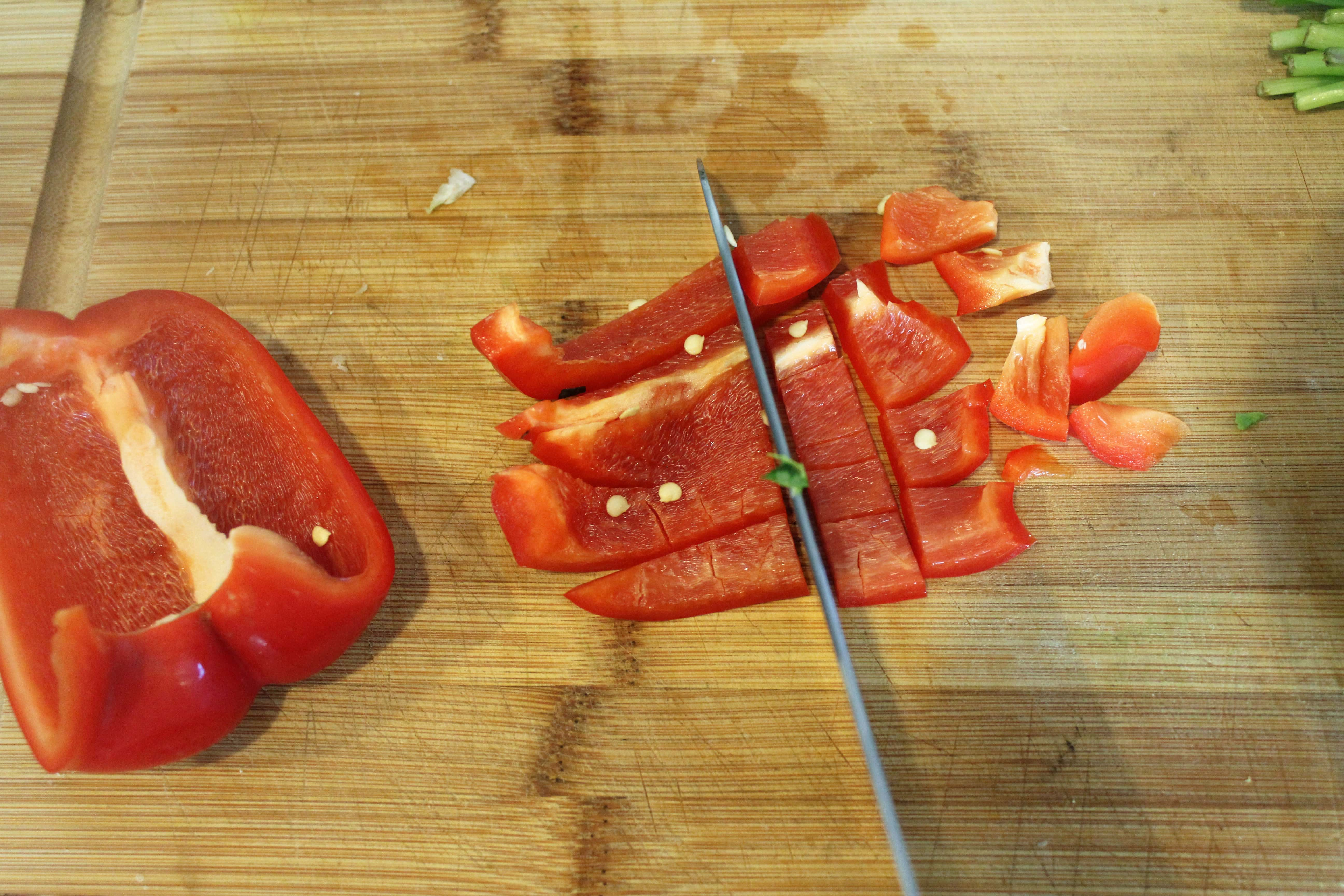 Chop sweet peppers