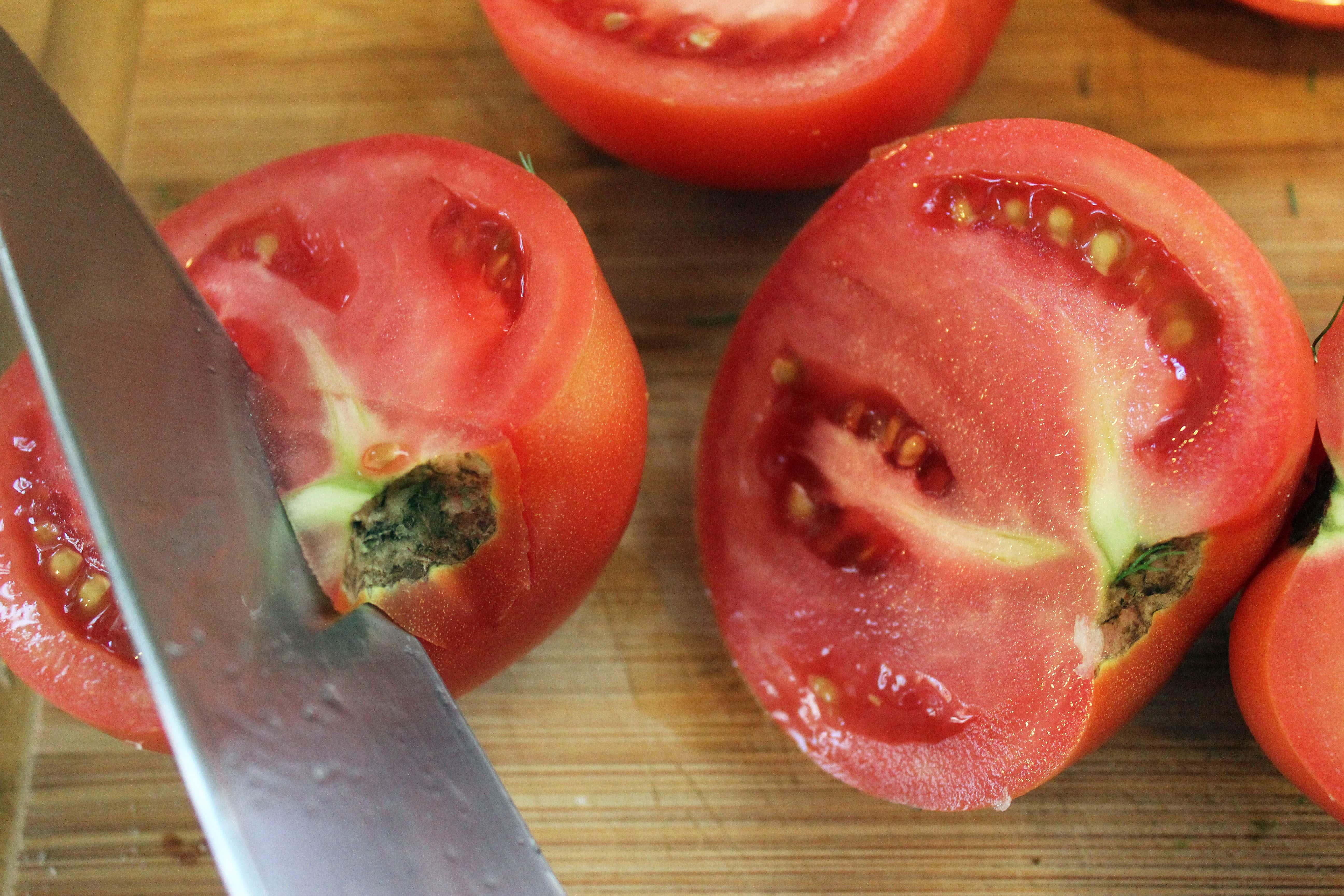 Core tomatoes