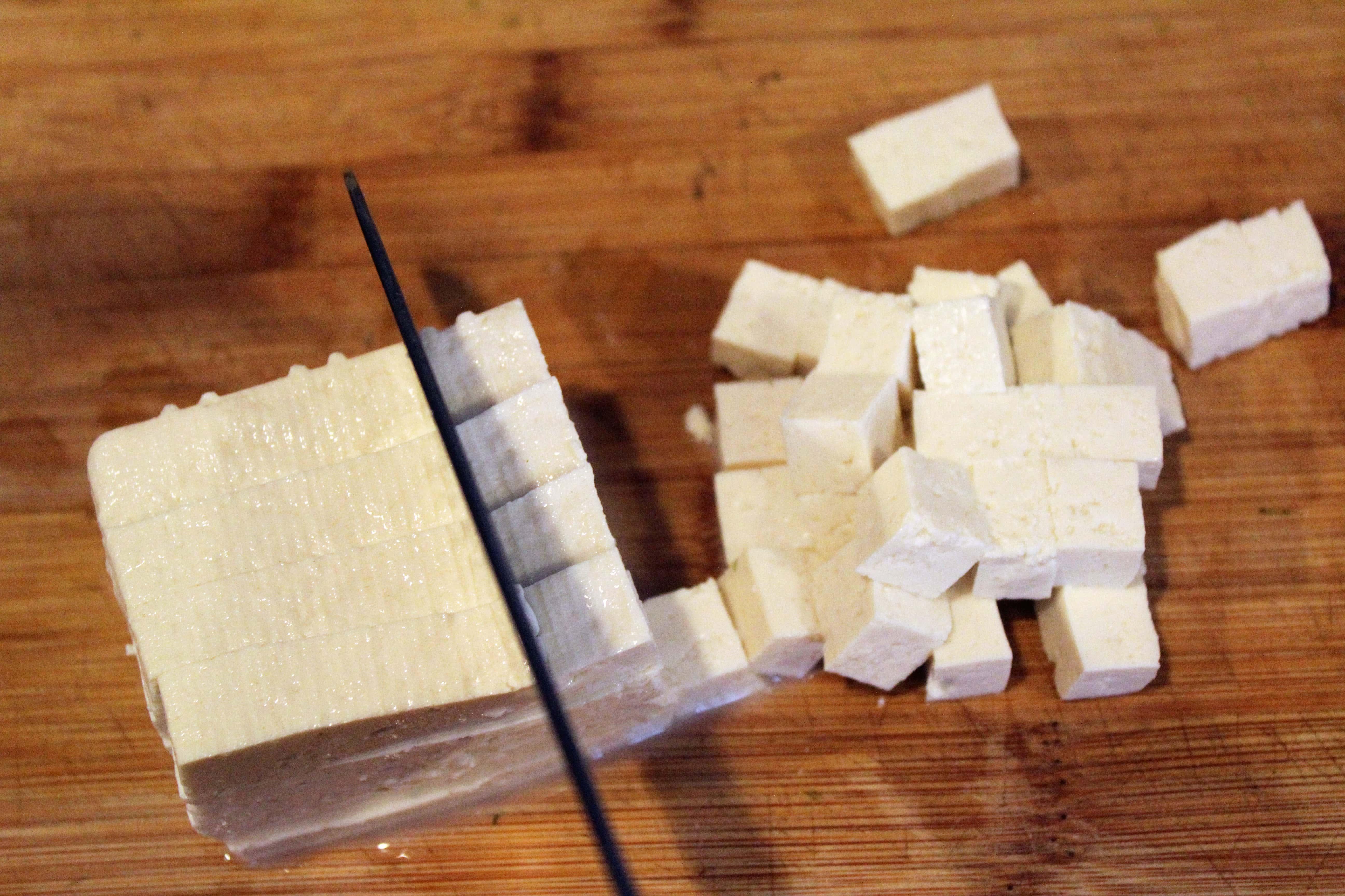 Cube tofu really small