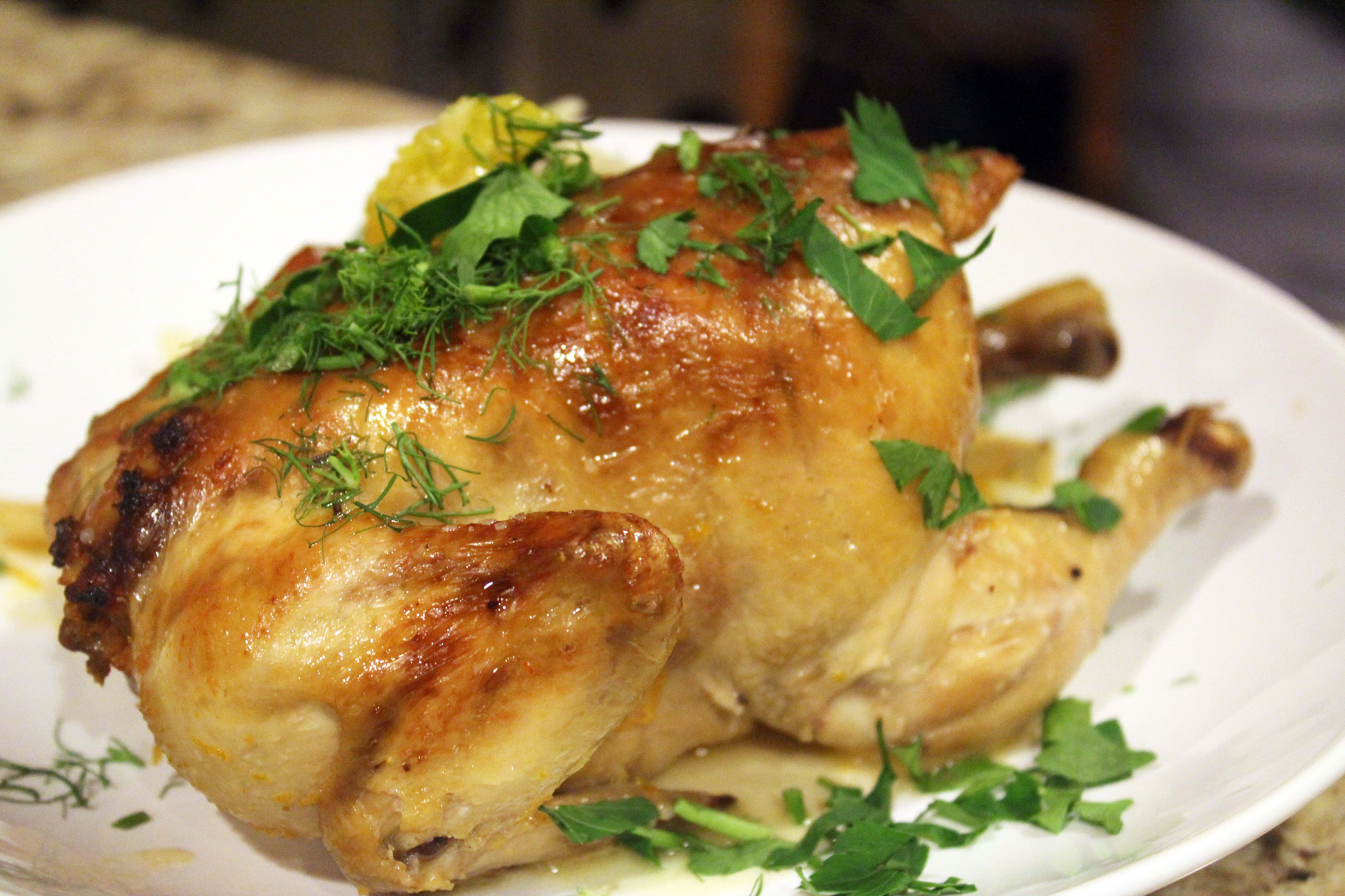 Hen topped with herbs
