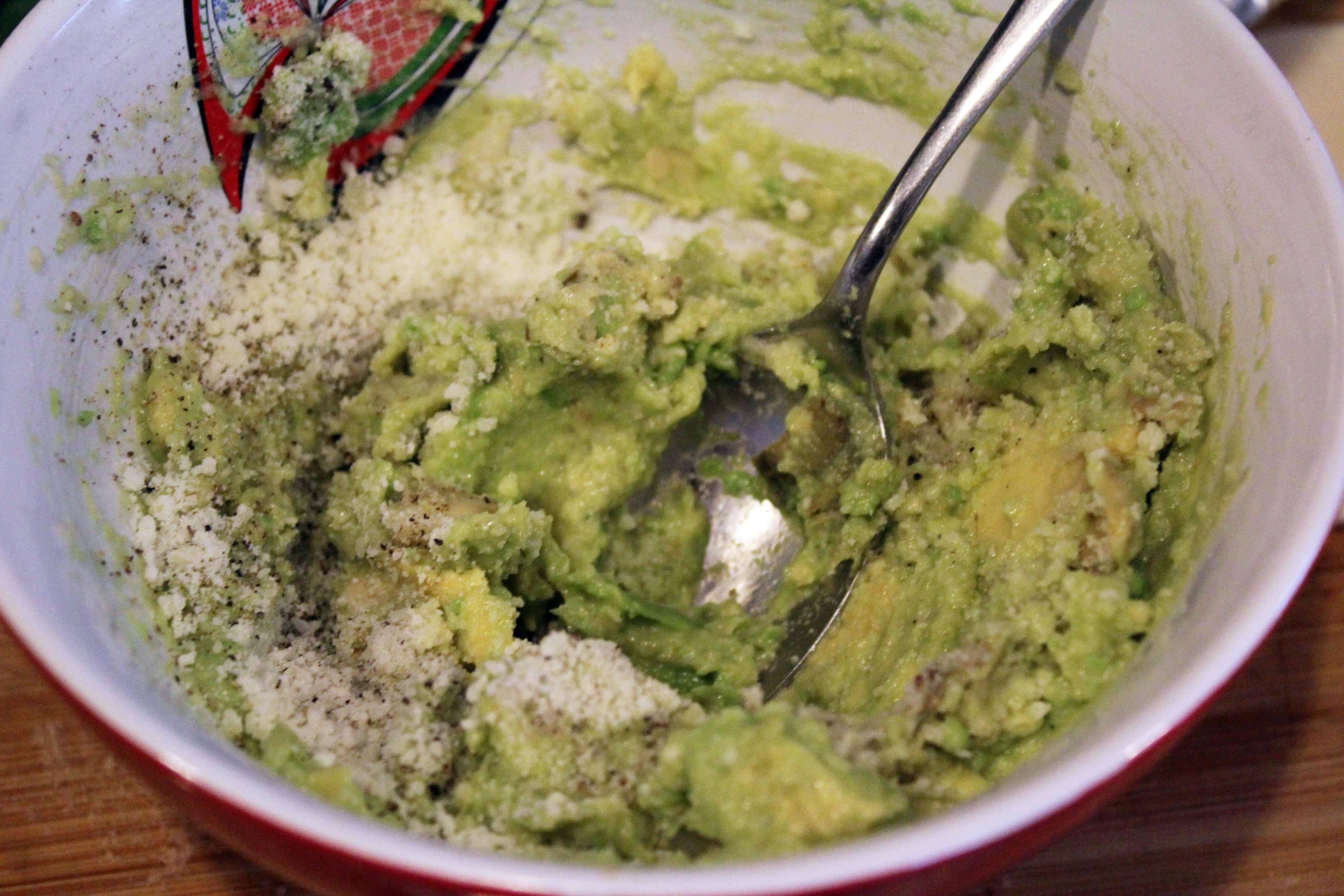 Mash avocado filling together