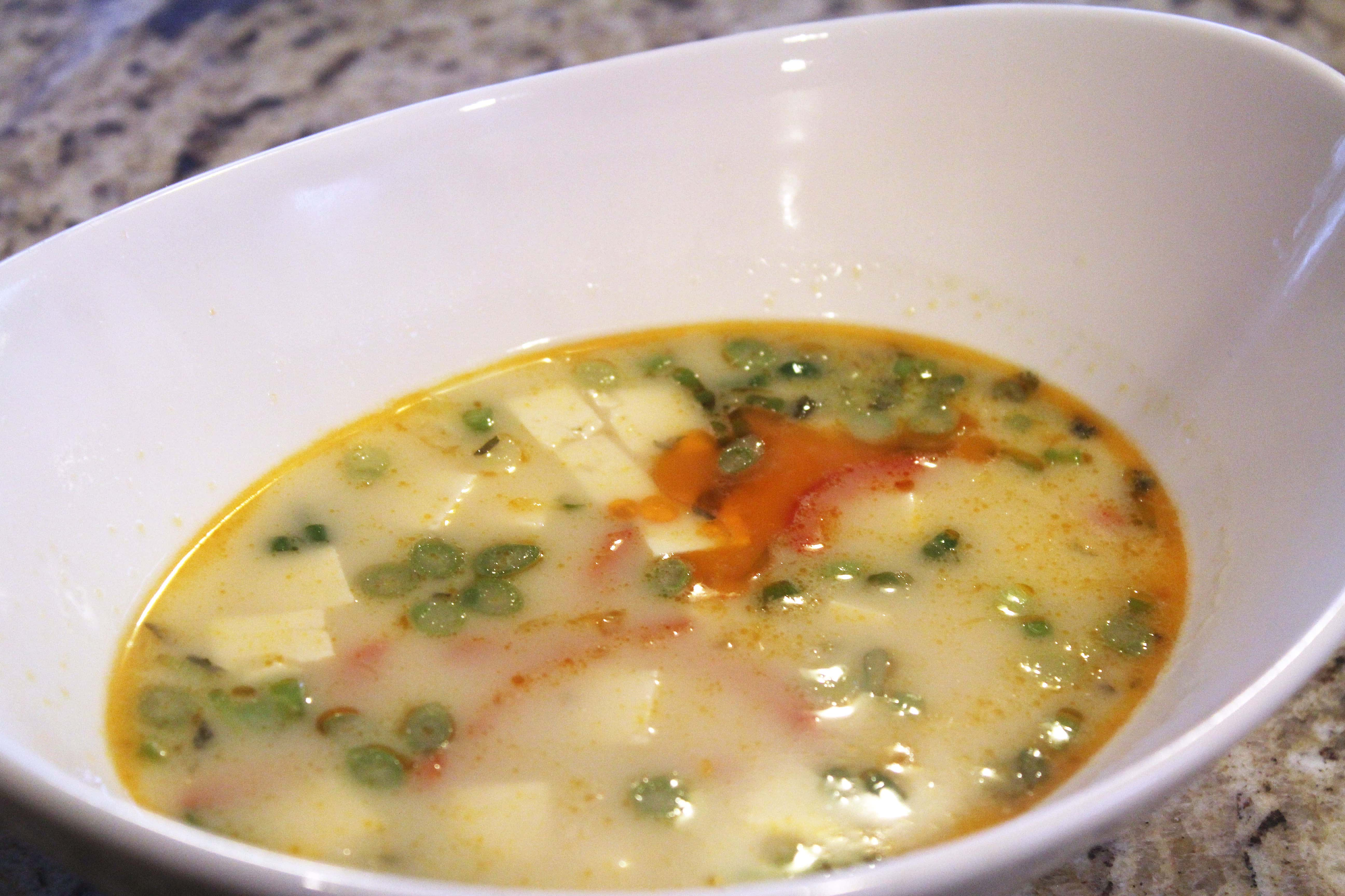 Soup topped with oil