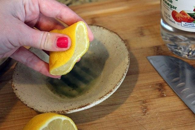 Measure lemon juice and vinegar together