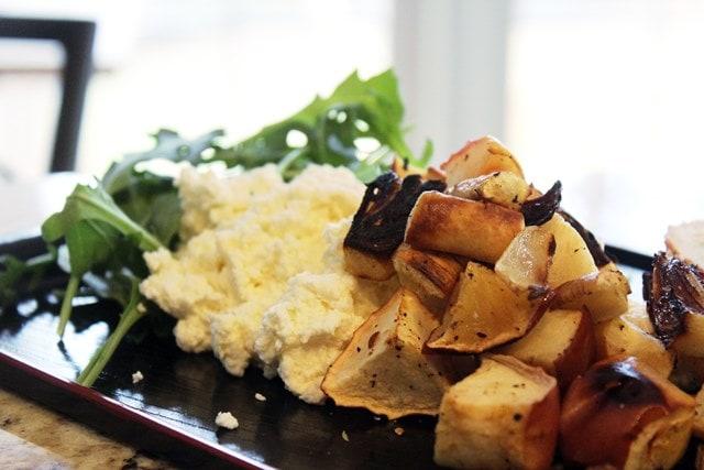 Roasted veggies plated