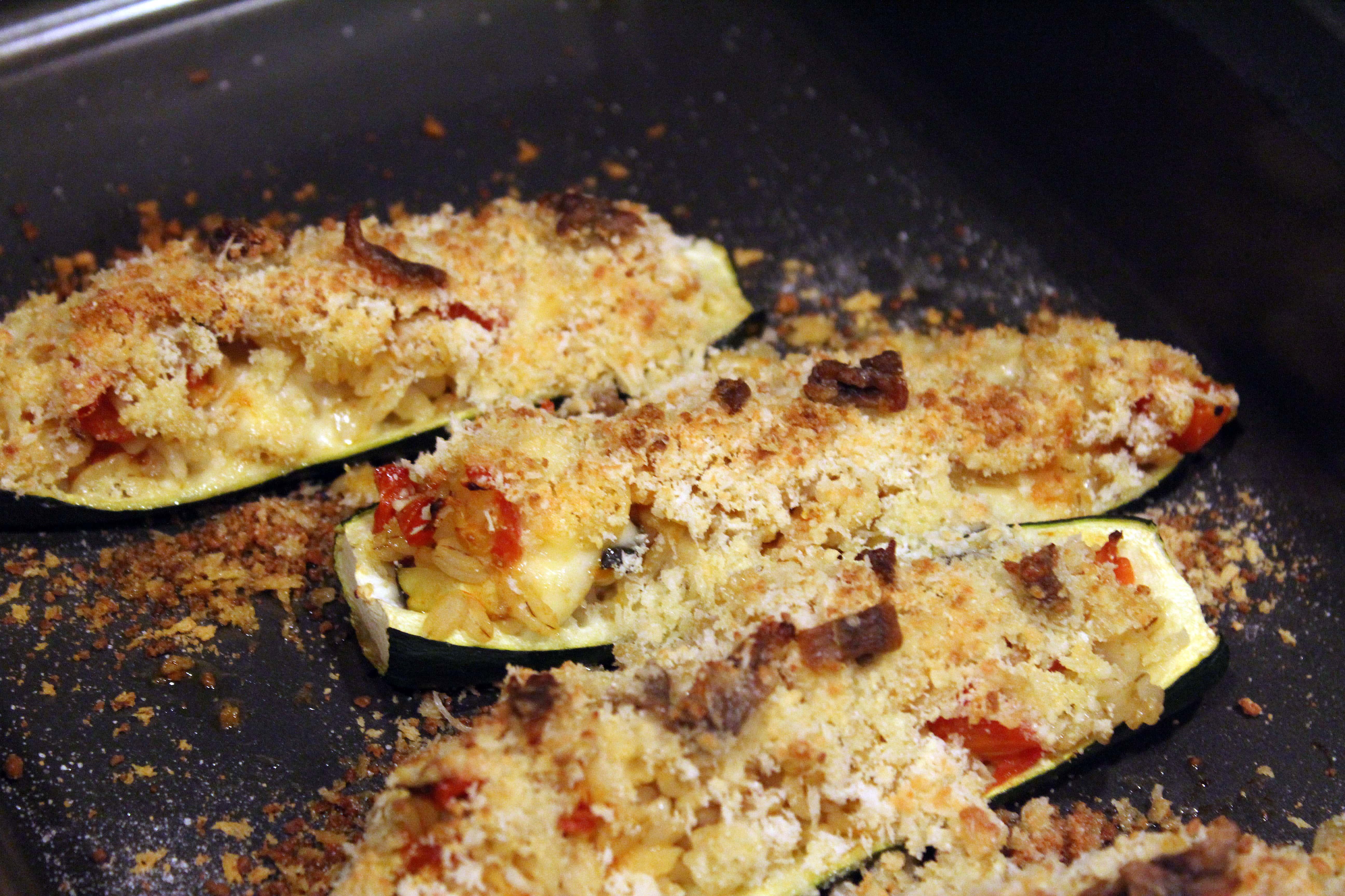 Broil zucchini until crispy