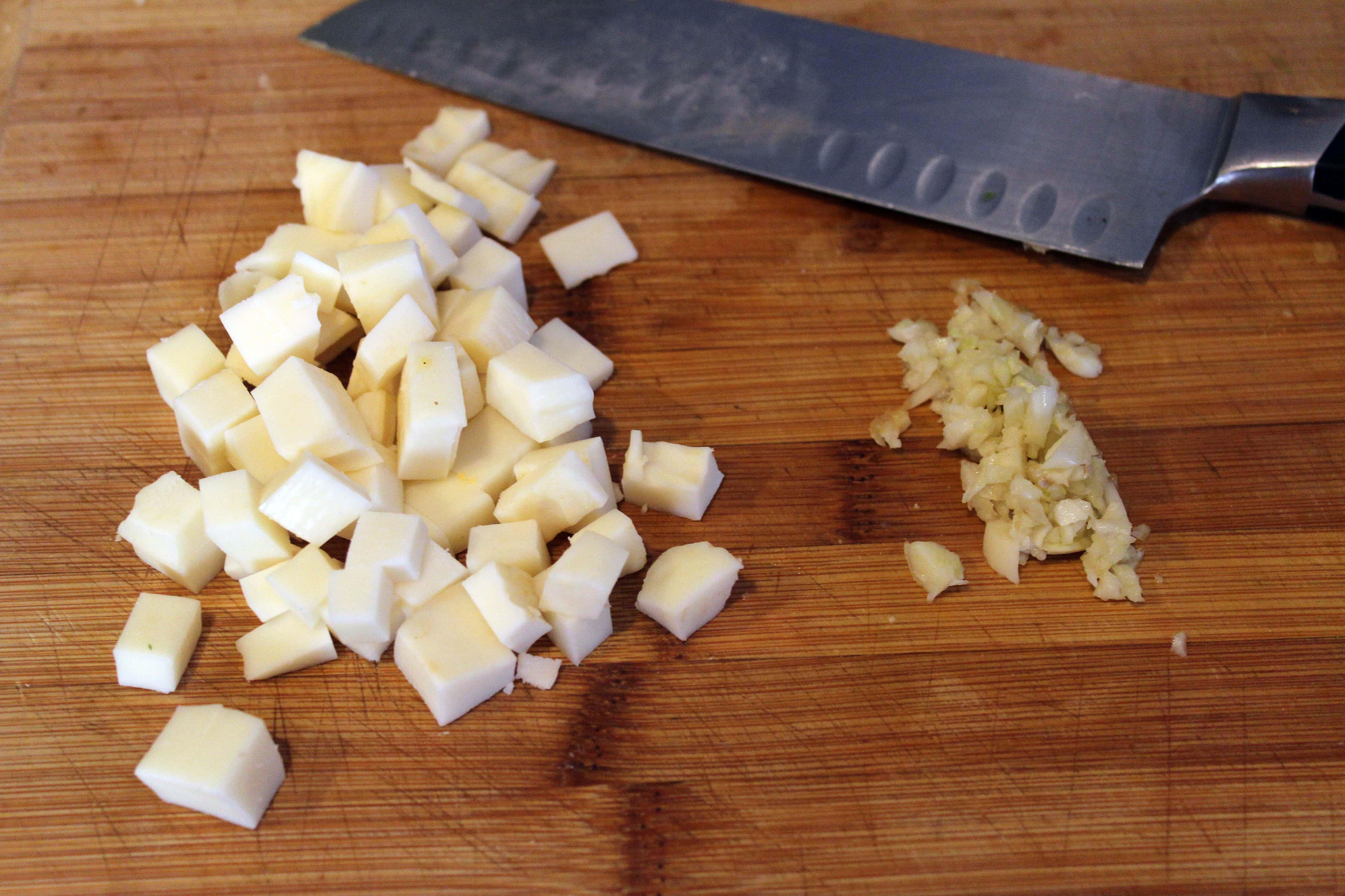 Chop cheese and raw garlic