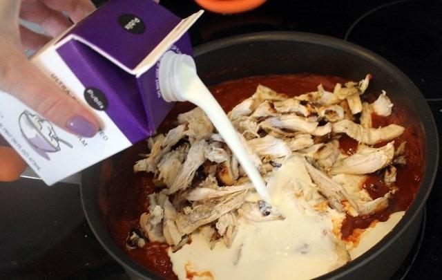 Add cream and chicken last