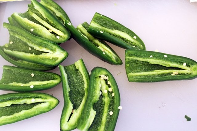 Halved seeded peppers