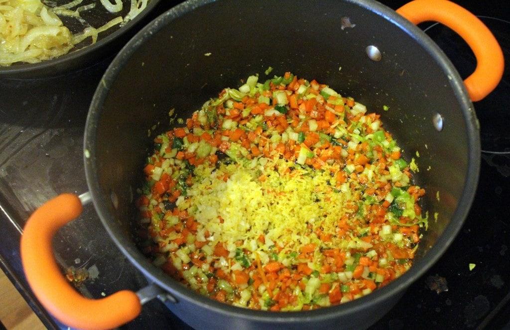 Add lemon zest to veggies