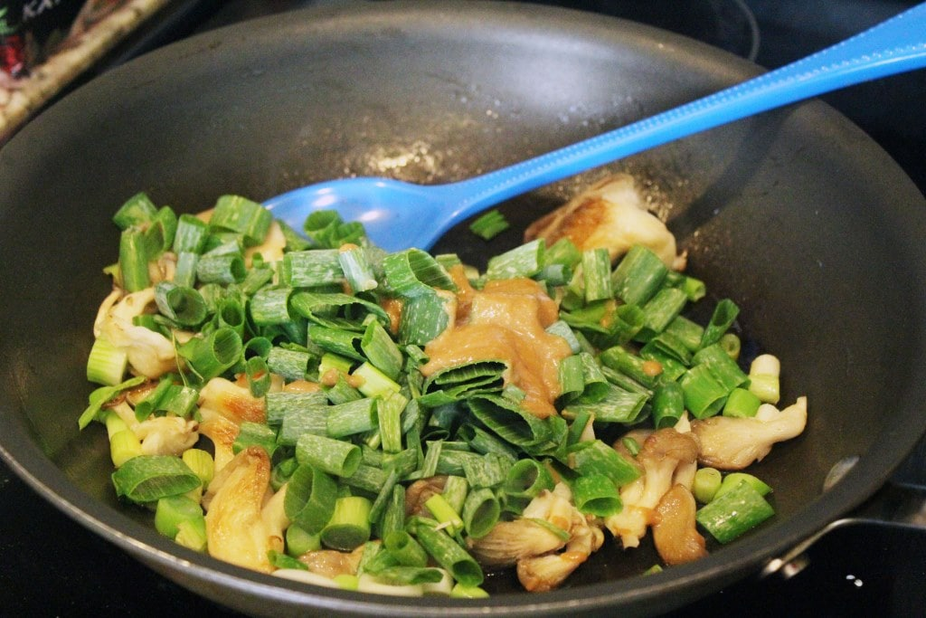 Add sauce and scallion greens very last