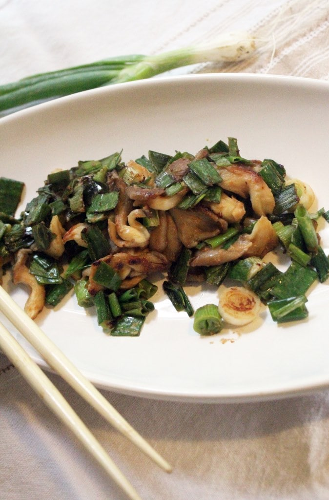 Scallions plated