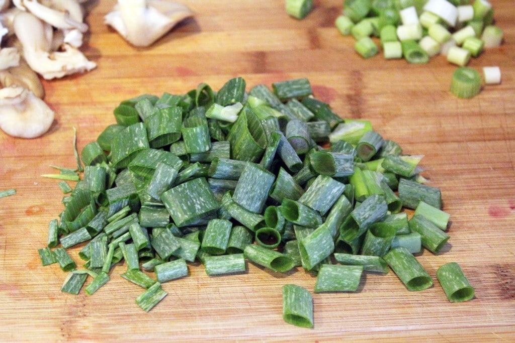 Slice onion greens