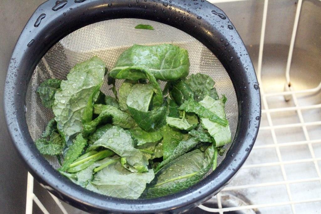 Draining kale