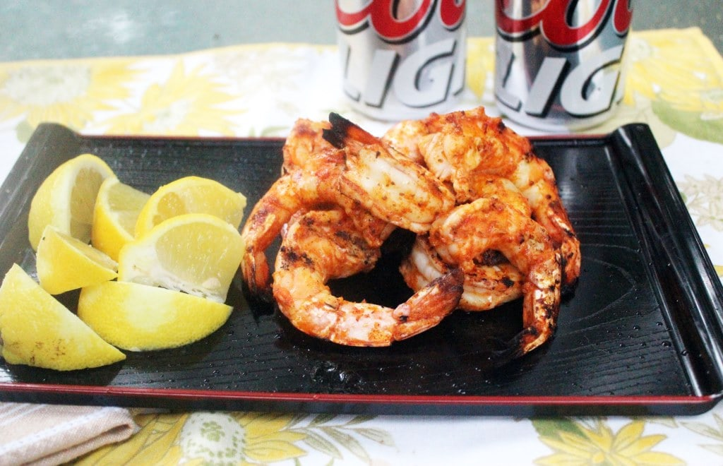 Plate of shrimp and beer