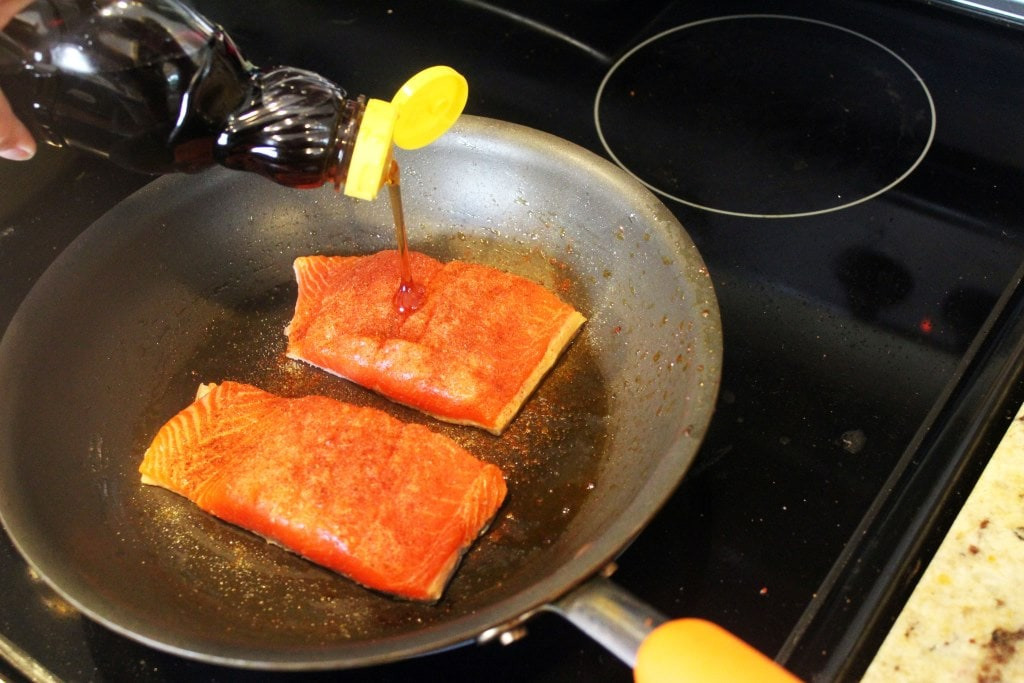 Add salmon and seasonings