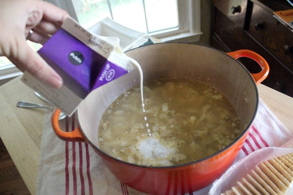 Drizzle cream into pot
