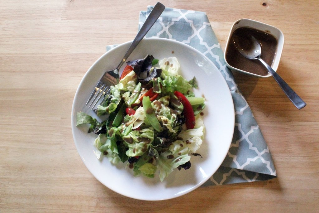 Top of salad with dressing