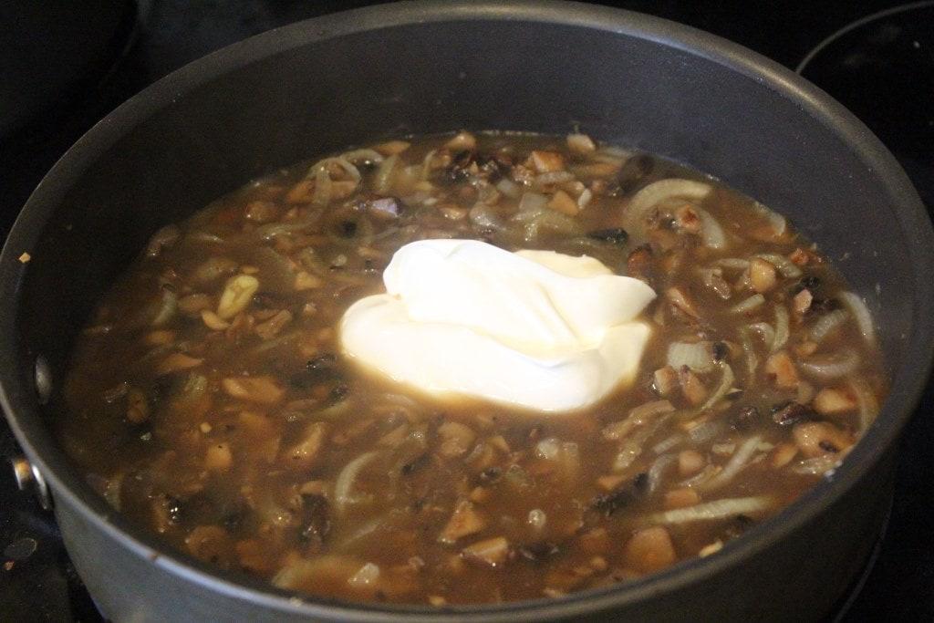 Add sour cream to sauce