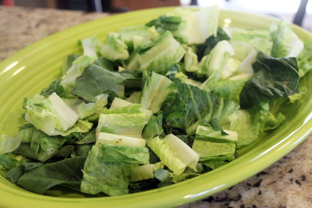 Lettuce on platter