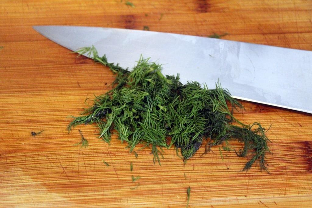 Chop dill for garnish