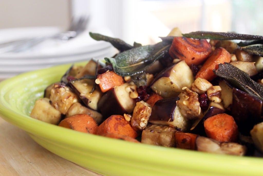 Plattered veggies closeup