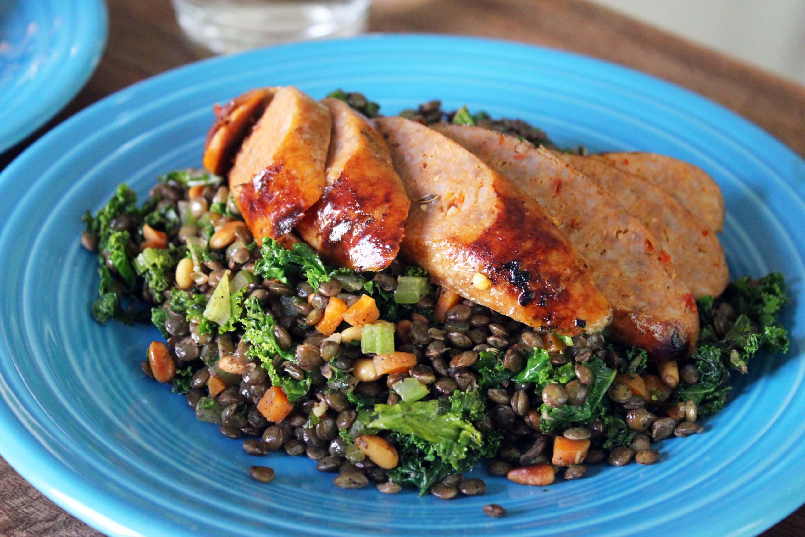 lentils provencal w/ kale  spicy sausage  my therapist cooks