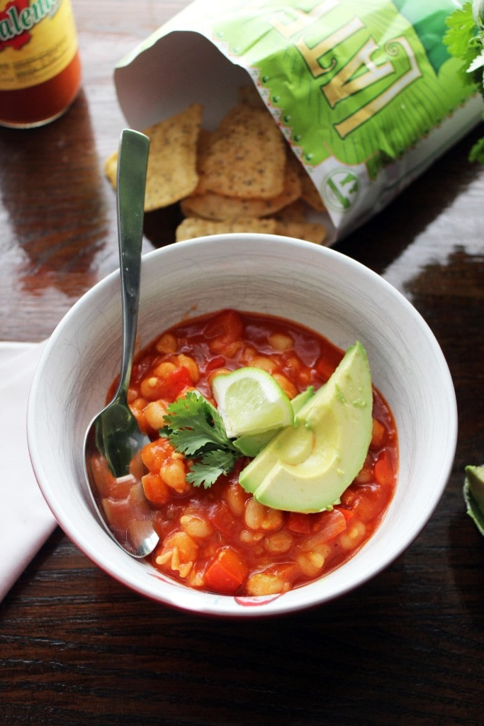 vegetarian posole with red chile and hominy