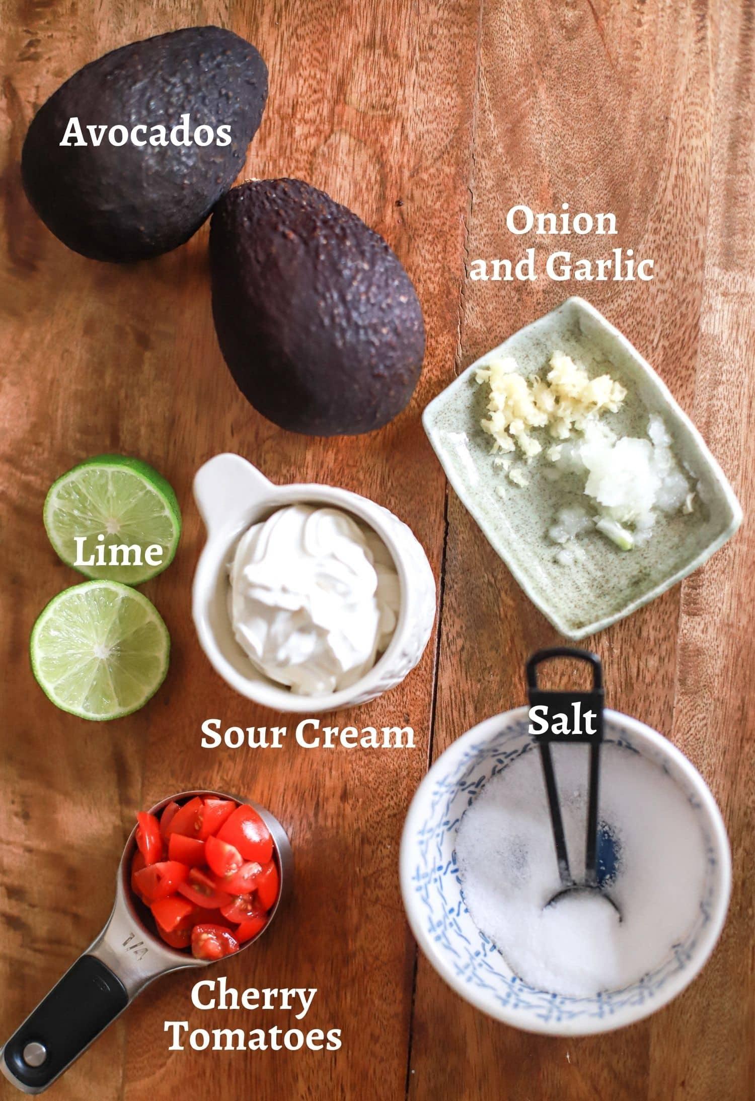 Sour Cream Guacamole Ingredients