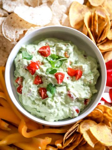 bowl of homemade sour cream guacamole