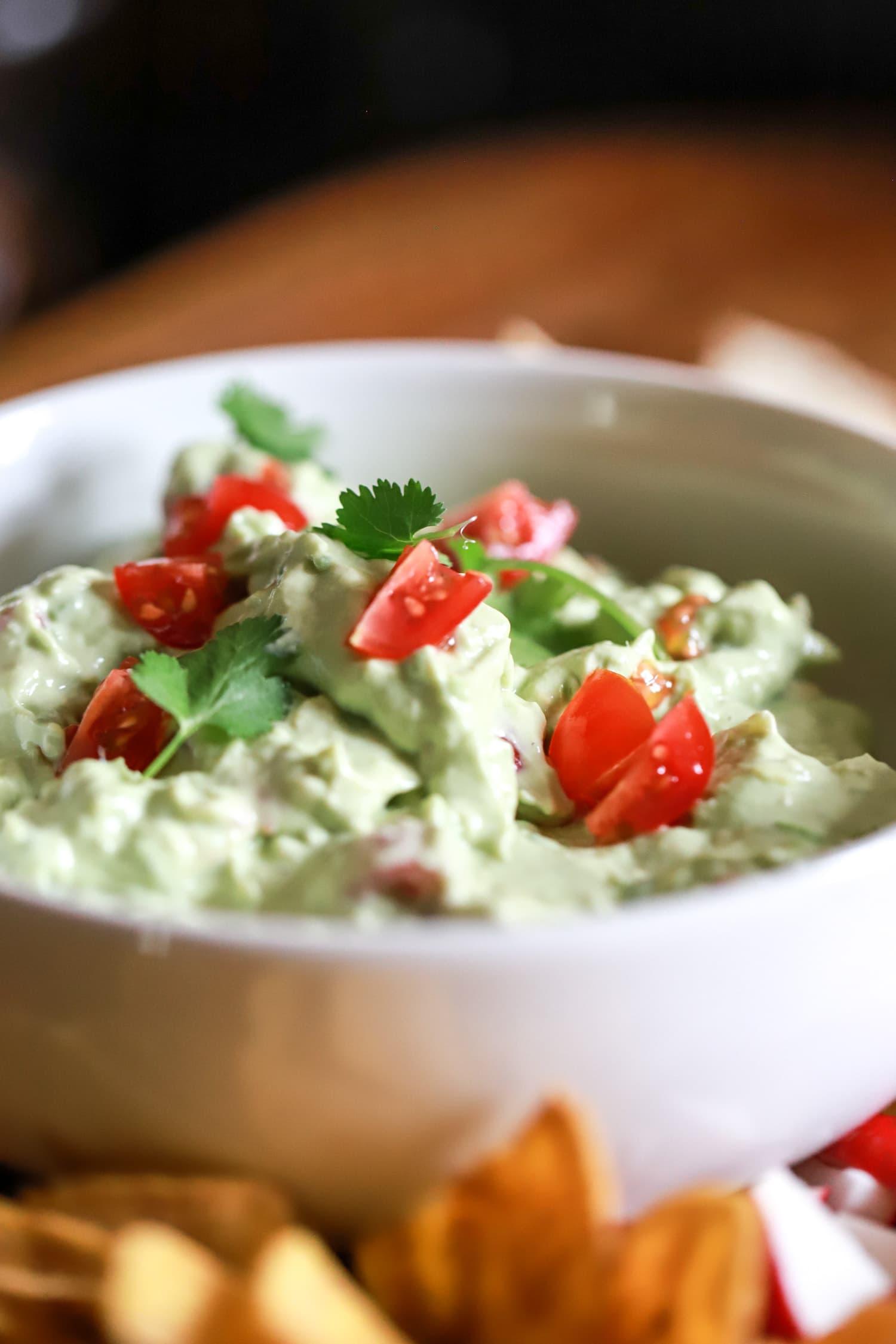 bowl of sour cream guacamole