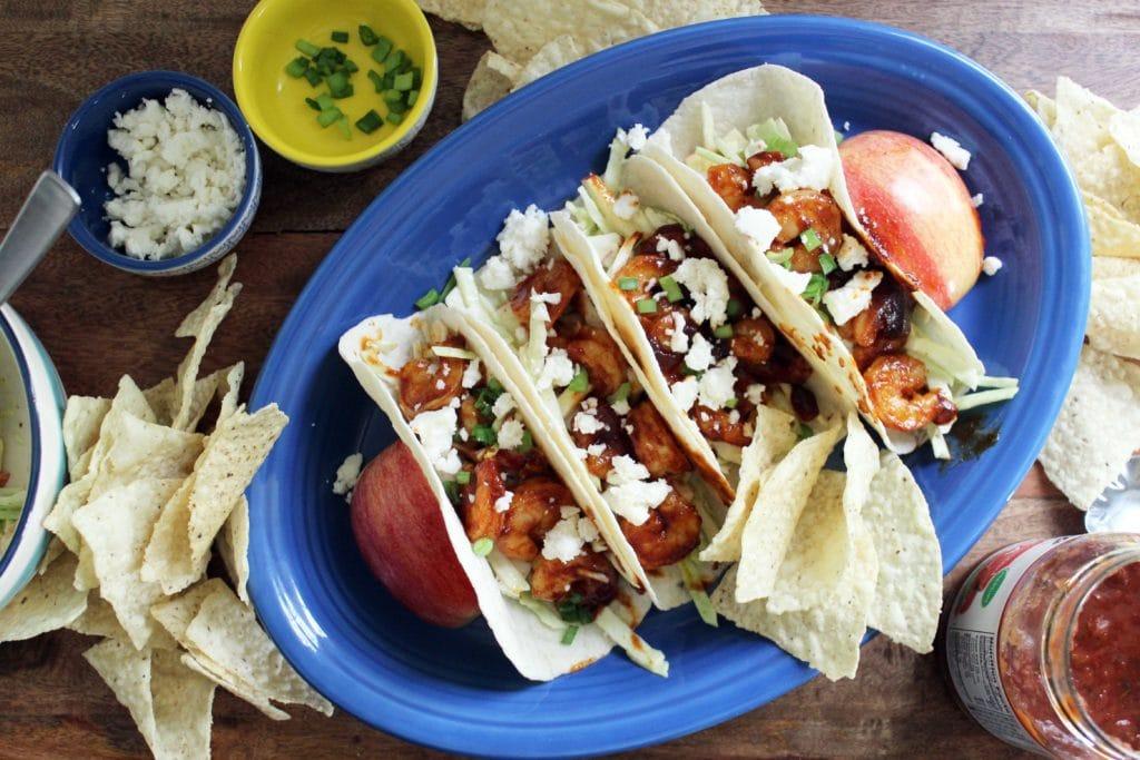 barbecue shrimp tacos