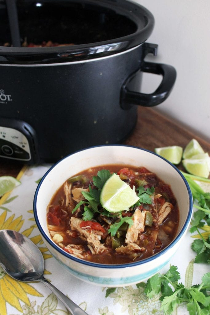 bowl of crockpot chicken taco soup