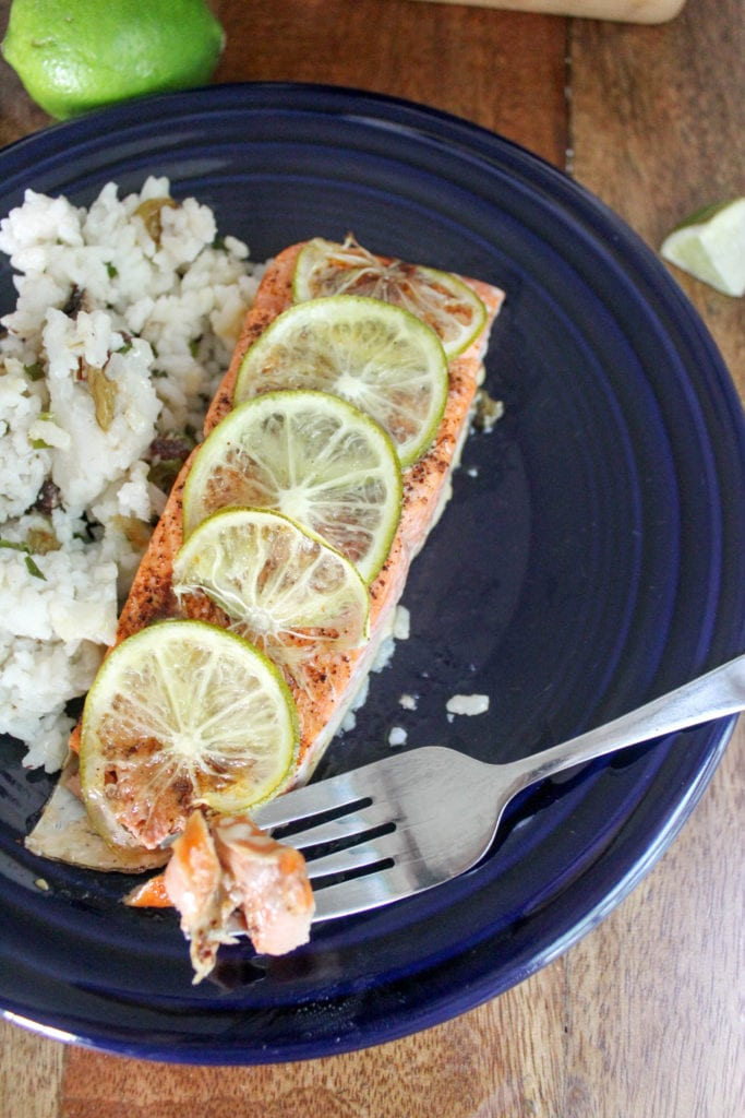 chili lime salmon with rice