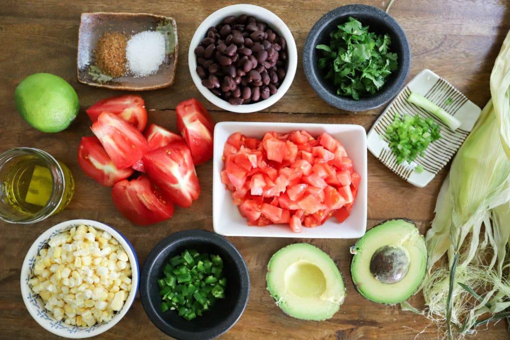 black bean salad with avocado