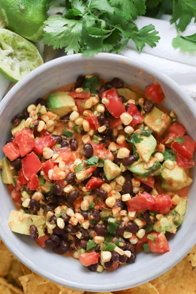 bowl of black bean salsa with avocado