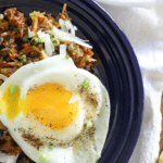 Easy veggie hash with chorizo and egg.