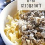 Easy Beef Stroganoff with Hamburger Meat recipe from funnyloveblog.com