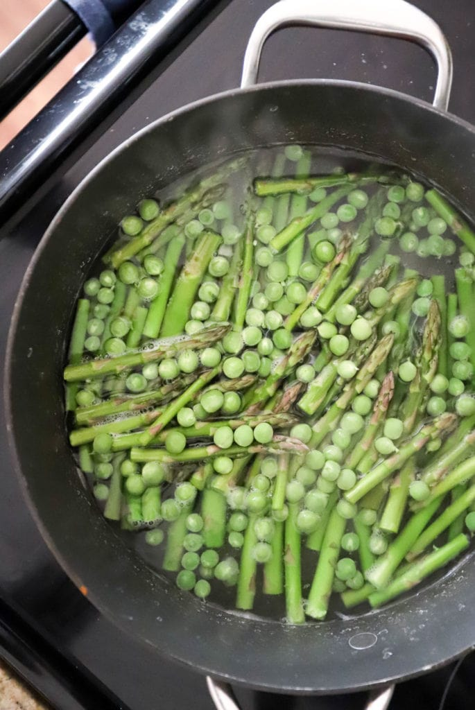 blanched asparagus and peas